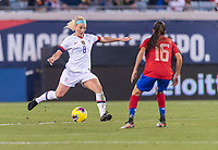 , FL - : Julie Ertz #8 of the United States crosses the ball around Katherine Alvarado #16 of Costa Rica during a game between  at  on ,  in , Florida.