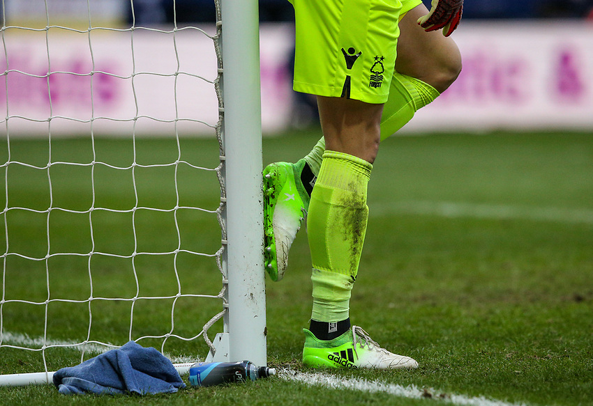 Nottingham Forest's Costel Pantilimon cleans his boots on the goalpost<br /> <br /> Photographer Alex Dodd/CameraSport<br /> <br /> The EFL Sky Bet Championship - Preston North End v Nottingham Forest - Saturday 16th February 2019 - Deepdale Stadium - Preston<br /> <br /> World Copyright © 2019 CameraSport. All rights reserved. 43 Linden Ave. Countesthorpe. Leicester. England. LE8 5PG - Tel: +44 (0) 116 277 4147 - admin@camerasport.com - www.camerasport.com