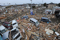 People call relatives using especially installed lines town of Natori, after the earthquake and tsunami knocked out all mobile communications lines.  The Tsunami devastated ahe entire pacifc coastline of Japan after the earthquake and tsunami devastated the area Sendai, Japan.<br />