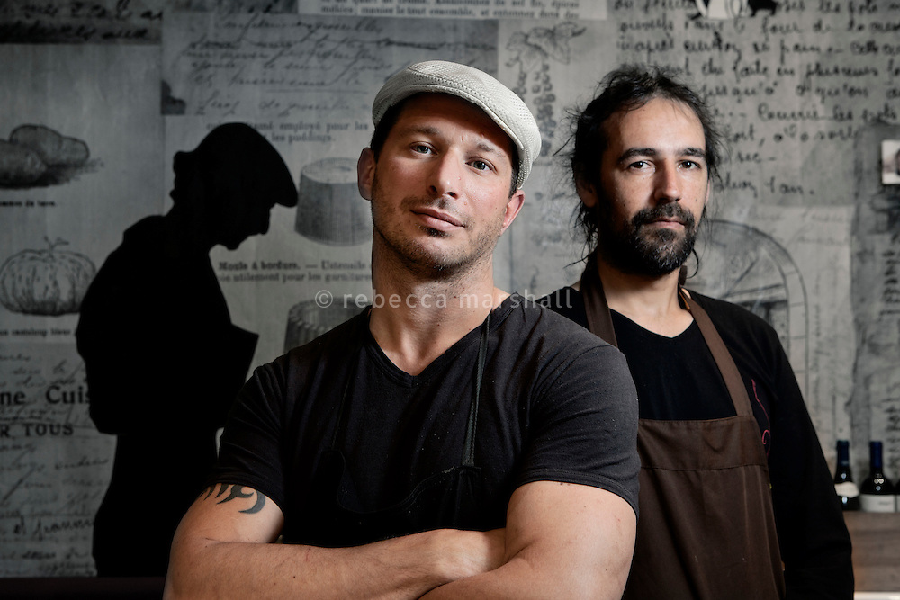 Chefs Giorgio Grilenzoni (left) and Nicolas Sikic (right) pose for the photographer in their restaurant 'Chat Noir, Chat Blanc', Nice, France, 10 April 2012