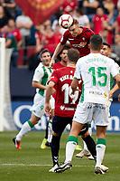 Carlos Clerc (defender; CA Osasuna) and Loureiro (defender; Córdoba CF) during the Spanish football of La Liga 123, match between CA Osasuna and Cordoba CF at the Sadar stadium, in Pamplona (Navarra), Spain, on Saturday, October 13, 2018.