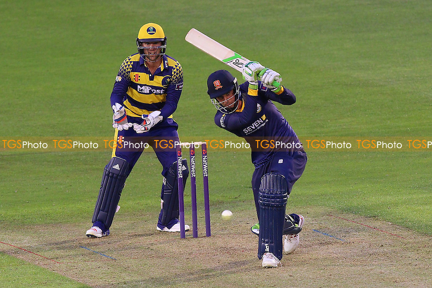 Daniel Lawrence in batting action for Essex as Chris Cooke looks on from behind the stumps during Glamorgan vs Essex Eagles, Nat West T20 Blast Cricket at the SSE SWALEC Stadium on 1st June 2016