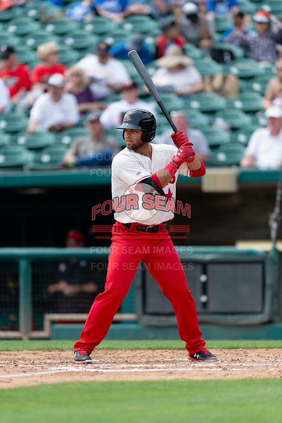 Fresno Grizzlies first baseman Jose Marmelejos (29) batting during a game against the Reno Aces at Chukchansi Park on April 8, 2019 in Fresno, California. Fresno defeated Reno 7-6. (Zachary Lucy/Four Seam Images)