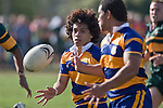 Tino Halalilo gets his pass away to Siale Piutau. CMRFU Counties Power Premier Club Rugby game between Patumahoe & Pukekohe played at Patumahoe on April 12th, 2008..The halftime score was 10 all with Pukekohe going on to win 23 - 18.