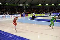 SCHAATSEN: HEERENVEEN: 28-12-2013, IJsstadion Thialf, KNSB Kwalificatie Toernooi (KKT), 500m, Marrit Leenstra, Laurine van Riessen, ©foto Martin de Jong