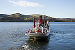Paddle steamer ferry boat, Howtown, Ullswater lake, Lake District national park, England, UK