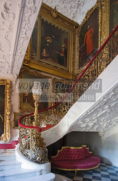 Europe/Pologne/env de Lublin/ Kozlowska: château de Kozlowska - le palais baroque de la famille Zamoyski -détail intérieur