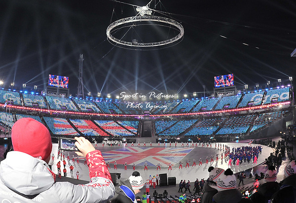 TeamGB enter the stadium. Opening Ceremony. Pyeongchang2018 winter Olympics. Olympic stadium. Pyeongchang. Republic of Korea. 09/02/2018. ~ MANDATORY CREDIT Garry Bowden/SIPPA - NO UNAUTHORISED USE - +44 7837 394578