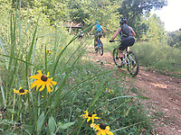 NWA Democrat-Gazette/FLIP PUTTHOFF <br /> Riders take off on one of several mountain bike trails Sept. 1 2019 that spur off the hard-surface path at Coler Park and Applegate trails in Bentonville.
