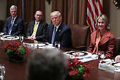 United States President Donald J. Trump, center, Acting White House Chief of Staff Mick Mulvaney, second left, United States National Security Advisor Robert C. O'Brien, left, and United States Ambassador to the United Nations Kelly Kraft, right, listen during a luncheon with the Permanent Representatives of the United Nations Security Council in the Cabinet Room of the White House on December 5, 2019 in Washington, DC.<br /> Credit: Oliver Contreras / Pool via CNP