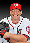 25 February 2011: Washington Nationals' pitcher Garrett Mock poses for his Photo Day portrait at Space Coast Stadium in Viera, Florida. Mandatory Credit: Ed Wolfstein Photo