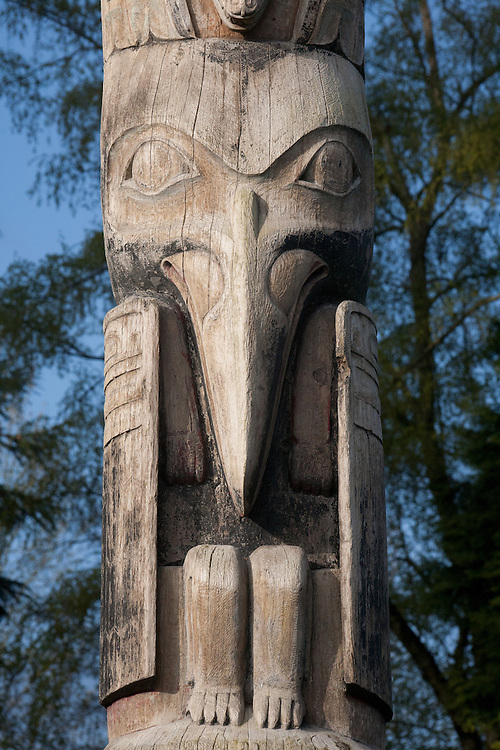 Seattle, Montlake, Lake Washington Ship Canal Waterside Trail, public art, totem pole, Chief John Wallace, Committee of 33, Haida art, Washington State, Pacific Northwest, USA,