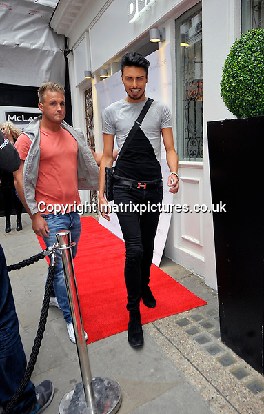 "NON EXCLUSIVE  PICTURE: MATRIXPICTURES.CO.UK.PLEASE CREDIT ALL USES..WORLD RIGHTS..English reality TV star Rylan Clark is pictured attending the launch of the ""Lauren's Way"" range of fake tan, eyelashes and hair products in London. ..MAY 8th 2013..REF: PSE 133063"