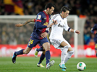 FC Barcelona's Sergio Busquets (l) and Real Madrid's Mesut Ozil during Copa del Rey - King's Cup semifinal second match.February 26,2013. (ALTERPHOTOS/Acero) /Nortephoto