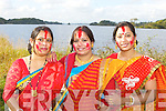 Rita Chrurbhury Rathmore, Shilpa Khan Killarney and Sanchita Debnath Tralee at the Kerry Hindu celebrations in Ross Castle on Sunday