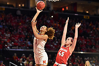 College Park, MD - March 23, 2019: Maryland Terrapins forward Shakira Austin (1) make a strong move to the basket over Radford Highlanders forward Savannah Felgemacher (45) during first round action of game between Radford and Maryland at Xfinity Center in College Park, MD. Maryland defeated Radford 73-51. (Photo by Phil Peters/Media Images International)