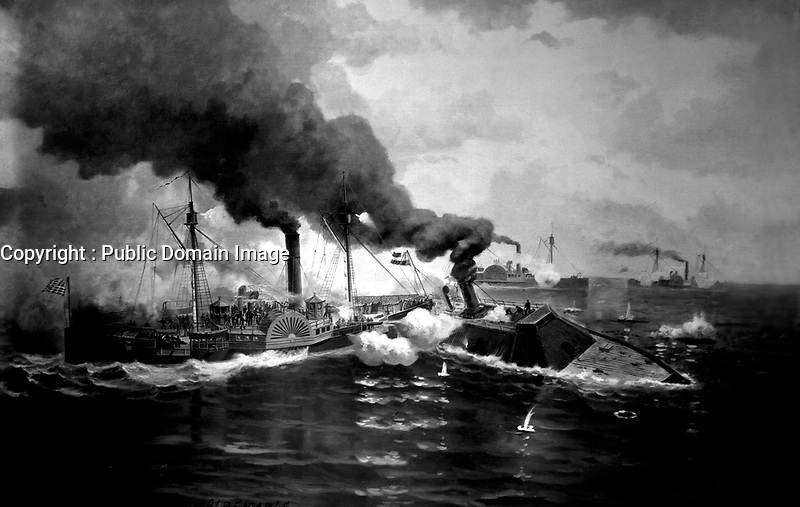 Battle between the Sassacus and the Albemarle, May 1864.  Copy of painting.  (Bureau of Ships)<br /> Exact Date Shot Unknown<br /> NARA FILE #:  019-N-16139<br /> WAR & CONFLICT BOOK #:  185