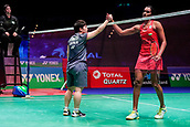 17th March 2018, Arena Birmingham, Birmingham, England; Yonex All England Open Badminton Championships; Akane Yamaguchi (JPN) shakes hands with Pusarla V Singhu (IND) after winning their semi-final match