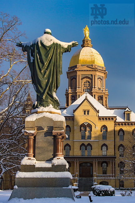 January 30, 3017; Main Building and Sacred Heart Jesus statue on a winter morning (Photo by Matt Cashore/University of Notre Dame)
