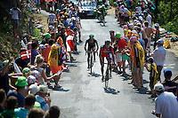 Greg Van Avermaet (BEL/BMC) up the Cote de la Croix Neuve (2C/1055m/3km/10.1%)<br /> <br /> stage 14: Rodez - Mende (178km)<br /> 2015 Tour de France