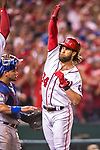 7 October 2017: Washington Nationals outfielder Bryce Harper comes home to score after hitting a two-run, game tying home run in the 8th inning during the second NLDS game against the Chicago Cubs at Nationals Park in Washington, DC. The Nationals defeated the Cubs 6-3 and even their best of five Postseason series at one game apiece. Mandatory Credit: Ed Wolfstein Photo *** RAW (NEF) Image File Available ***