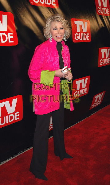 JOAN RIVERS .The New Big TV Guide launch party at the Home and Guest House Club in Chelsea, New York, New York..October 11th, 2005.Photo Credit: Patti Ouderkirk/AdMedia.Ref: PO/ADM/CAP.half length fluorescent pink black trousers.www.capitalpictures.com.sales@capitalpictures.com.© Capital Pictures.