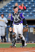 Akron Aeros catcher Chris Wallace #12 during a game against the Trenton Thunder on April 22, 2013 at Canal Park in Akron, Ohio.  Trenton defeated Akron 13-8.  (Mike Janes/Four Seam Images)