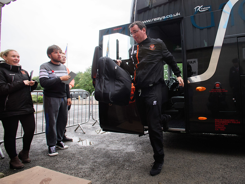 Blackpool manager Gary Bowyer gets off the team bus after arriving at the ground<br /> <br /> Photographer Chris Vaughan/CameraSport<br /> <br /> The EFL Sky Bet League One - Scunthorpe United v Blackpool - Saturday 9th September 2017 - Glanford Park - Scunthorpe<br /> <br /> World Copyright &copy; 2017 CameraSport. All rights reserved. 43 Linden Ave. Countesthorpe. Leicester. England. LE8 5PG - Tel: +44 (0) 116 277 4147 - admin@camerasport.com - www.camerasport.com