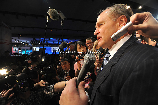 Chrysler CEO Robert Nardelli responds to questions from members of the media at the Detroit Auto Show in Detroit, Michigan on January 11, 2009.