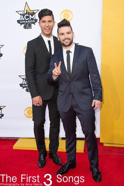Dan Smyers and Shay Mooney Dan + Shay attend the 50th Academy Of Country Music Awards at AT&T Stadium on April 19, 2015 in Arlington, Texas.