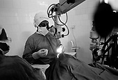 Asmara, Eritrea.November 2002.Birhan Aim Hospital  (Light to the Eye Hospital)..Dr. Desbele Ghebreghergis and his team perform as many as 15 cataract operations in a day. Normally there are 2 surgeons operating in the theater each day, Monday through Friday. Most days as many as 20 to 30 patients are treated in Asmara.