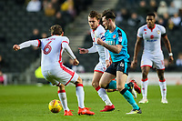 Fleetwood Town's Aiden O'Neill competing with Milton Keynes Dons'  Edward Upson<br /> <br /> Photographer Andrew Kearns/CameraSport<br /> <br /> The EFL Sky Bet League One - Milton Keynes Dons v Fleetwood Town - Saturday 11th November 2017 - Stadium MK - Milton Keynes<br /> <br /> World Copyright &copy; 2017 CameraSport. All rights reserved. 43 Linden Ave. Countesthorpe. Leicester. England. LE8 5PG - Tel: +44 (0) 116 277 4147 - admin@camerasport.com - www.camerasport.com