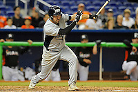 7 March 2012:  FIU infielder/outfielder Adam Kirsch (10) bats as the Miami Marlins defeated the FIU Golden Panthers, 5-1, at Marlins Park in Miami, Florida.