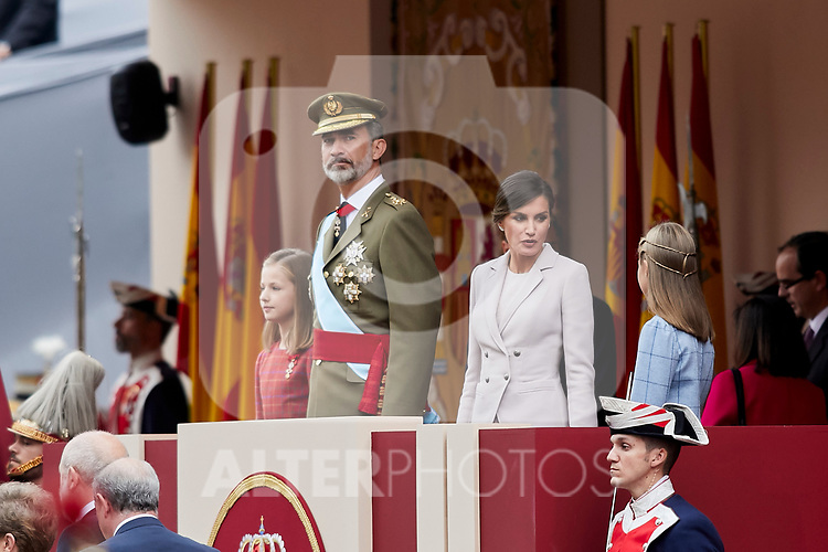 King Felipe VI of Spain, Queen Letizia of Spain, Princess Leonor of Spain and Princess Sofia of Spain attends to Spanish National Day military parade in Madrid, Spain. October 12, 2018. (ALTERPHOTOS/A. Perez Meca)