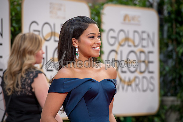 """Gina Rodriguez, Golden Globe nominee for BEST PERFORMANCE BY AN ACTRESS IN A TELEVISION SERIES – COMEDY OR MUSICAL for her role in """"Jane the Virgin"""",  arrives at the 73rd Annual Golden Globe Awards at the Beverly Hilton in Beverly Hills, CA on Sunday, January 10, 2016. Photo Credit: HFPA/AdMedia"""