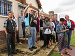 VMI Vincentian Heritage Tour: the The Rev. Edward Udovic, C.M., leads members of the Vincentian Mission Institute cohort as they tour the remains of the medieval castle Le château de Folleville, Wednesday, June 22, 2016, in northern France. The manor and castle of Folleville were the property of Philippe Emmanuel de Gondi. Vincent de Paul was the spiritual advisor to Phillippe's wife, Madame de Gondi. The site is also home of Church of Saint-Jacques-Le-Majeur et Saint-Jean-Baptiste, where Vincent spoke in 1617, a sermon credited for the creation of the Congregation of the Mission. (DePaul University/Jamie Moncrief)