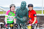 Catriona Daly Killorglin and Catriona Shanahan at the Mick O'Dwyer statue in Waterville during their Ring of Kerry cycle on Saturday morning