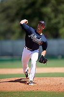 Atlanta Braves pitcher Caleb Dirks (26) delivers a pitch during an Instructional League game against the Detroit Tigers on October 10, 2017 at the ESPN Wide World of Sports Complex in Orlando, Florida.  (Mike Janes/Four Seam Images)