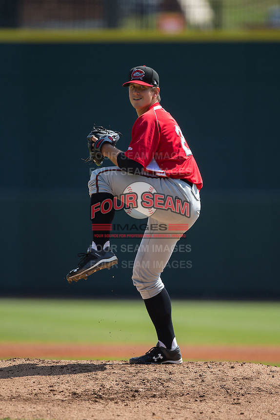Carolina Mudcats starting pitcher Lucas Sims (27) in action against the Winston-Salem Dash at BB&T Ballpark on April 22, 2015 in Winston-Salem, North Carolina.  The Dash defeated the Mudcats 4-2..  (Brian Westerholt/Four Seam Images)