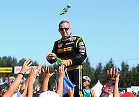 Aug. 3, 2014; Kent, WA, USA; NHRA top fuel dragster driver Richie Crampton during the Northwest Nationals at Pacific Raceways. Mandatory Credit: Mark J. Rebilas-