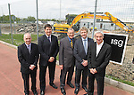 **FREE PR PIC**..L_R: Kevin Moon, operations manager FAW Trust, Neil Ward, chief executive FAW Trust, Councillor John Guy deputy mayor of Newport. Jon James, regional director ISG and Ian Rush, elite performance director FAW Trust at the site of the National Football Development Centre...17.05.12.©Steve Pope