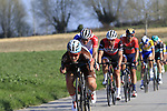 The peloton with Silvan Dillier (SUI) AG2R La Mondiale on front descend off Paterberg during the 2019 E3 Harelbeke Binck Bank Classic 2019 running 203.9km from Harelbeke to Harelbeke, Belgium. 29th March 2019.<br /> Picture: Eoin Clarke | Cyclefile<br /> <br /> All photos usage must carry mandatory copyright credit (© Cyclefile | Eoin Clarke)