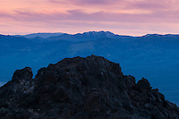 Panamint Mountains and rock outcrop at Dante's View at dusk