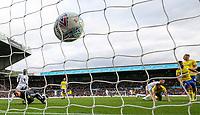 Leeds United's Kalvin Phillips' shot sneaks under the body of Birmingham City's Lee Camp<br /> <br /> Photographer Alex Dodd/CameraSport<br /> <br /> The EFL Sky Bet Championship - Leeds United v Birmingham City - Saturday 19th October 2019 - Elland Road - Leeds<br /> <br /> World Copyright © 2019 CameraSport. All rights reserved. 43 Linden Ave. Countesthorpe. Leicester. England. LE8 5PG - Tel: +44 (0) 116 277 4147 - admin@camerasport.com - www.camerasport.com