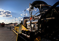May 16, 2014; Commerce, GA, USA; Detailed view of the car of NHRA top fuel dragster driver Richie Crampton during qualifying for the Southern Nationals at Atlanta Dragway. Mandatory Credit: Mark J. Rebilas-USA TODAY Sports