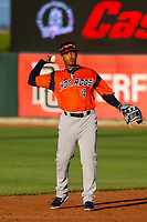 Bowling Green Hot Rods shortstop Wander Franco (4) throws the ball to thrid base between innings during a Midwest League game against the Cedar Rapids Kernels on May 2, 2019 at Perfect Game Field in Cedar Rapids, Iowa. Bowling Green defeated Cedar Rapids 2-0. (Brad Krause/Four Seam Images)
