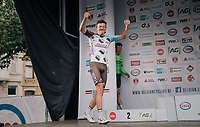 a super happy Oliver Naesen (BEL/AG2R-LaMondiale) walking up the podium after winning the 2017 Belgian National Championship title. Runner-up Sep Vanmarcke (BEL/Cannondale-Drapac) following close behind...<br /> <br /> 2017 National Championships Belgium - Elite Men - Road Race (NC)<br /> 1 Day Race: Antwerpen &gt; Antwerpen (233km)