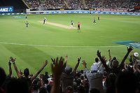 Fans react as New Zealand take another wicket during the Black Caps v Australia international T20 cricket match at Eden Park in Auckland, New Zealand. 16 February 2018. Copyright Image: Peter Meecham / www.photosport.nz