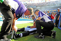 Sep. 20, 2009; San Diego, CA, USA; Baltimore Ravens safety Dawan Landry is tended to by trainers after suffering an injury against the San Diego Chargers at Qualcomm Stadium in San Diego. Baltimore defeated San Diego 31-26. Mandatory Credit: Mark J. Rebilas-