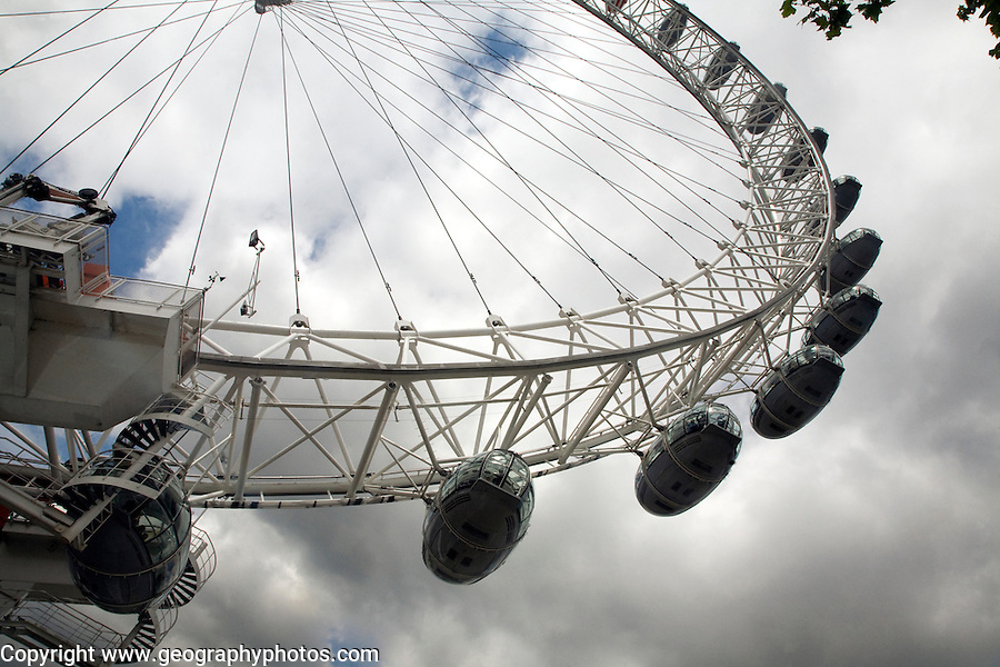 Looking up at London Eye ferris wheel with grey clouds above, London
